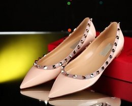 $enCountryForm.capitalKeyWord NZ - 2019 HOT sales Fashion Women Rivet Shoes Flats Genuine Leather Ankle Strap Pointed Toe Studded valentine Shoes Ballerinas free shipping ML3