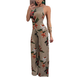 bbda2b3a454 New 2018 Summer Floral Print Chiffon Rompers Jumpsuits Women s Sexy Lace-up Backless  Wide Leg Pants Loose Playsuit Overalls 2XL Y1891807