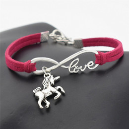 Accessories lucky online shopping - AFSHOR New Vintage Cute Animals Antique Silver Lucky Horse Unicorn Charms Infinity Love Leather Bracelet Bangles for Women Gifts Accessories