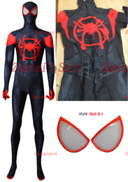 $enCountryForm.capitalKeyWord NZ - 2018 Spider-Man: Into the Spider-Verse Miles Morales ISV Printing Spiderman Superhero Costume Spandex Zentai Suit For Kids Adult Custom Made