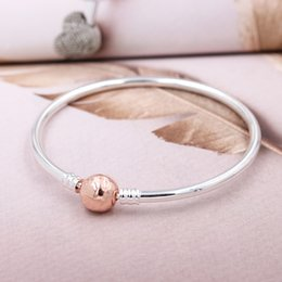 $enCountryForm.capitalKeyWord Australia - New 925 Sterling Silver Bangle Ball Clasp ESSENCE COLLECTION Rose Gold Bracelet Bangle Fit Women Bead Charm DIY Jewelry