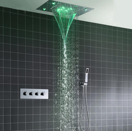 recessed rain shower heads NZ - Shower System Double Waterfall Rainfall Large Ceiling LED Rain Shower Head Recessed Automatic Color Change Thermostatic Tap