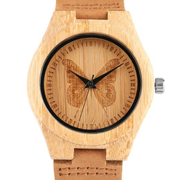 Wholesale Plastic Watch Bands UK - Fashion Women Bamboo Handmade Watches Butterfly Pattern Wrist Watch Genuine Leather Band Gift For Elegant Ladies