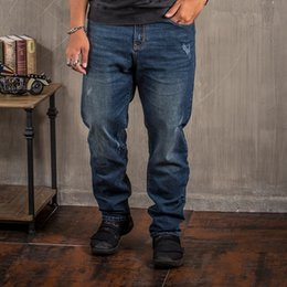brands blue jeans 2019 - Men's Vintage Blue Jeans New Designer Brand Denim Full Length Pants Loose Style Large Plus Size 30-44 46 48 Jeans F