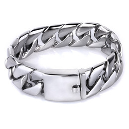 $enCountryForm.capitalKeyWord NZ - 22CM Long 20MM Wide Frosted Bracelet Men Cool Stainless Steel Curb Cuban Link Chain Mens Bracelets Jewelry Accessory Wristband