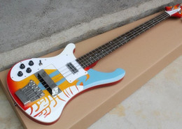Left Handed Basses Australia - Special pattern Left Hand Electric Bass Guitar with White Pickguard,Rosewood Fingerboard,Chrome Hardwares,Offer Customized