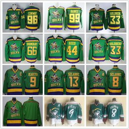 Wholesale Mighty Enten von Anaheim Filmtrikot Vintage CCM 96 Charlie Conway Paul Kariya 33 Greg Goldberg Gordon Bombay 99 Adam Banks Hockey Trikots