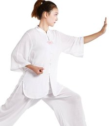 Pink Clothing Women UK - Martial arts suits Tai Chi summer short-sleeved flower buckle Tai Chi clothing practice clothes
