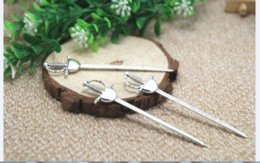 Knife charms online shopping - 6pcs sword Charms Silver tone Long Fencing Sword Knife Charms pendant x85mm