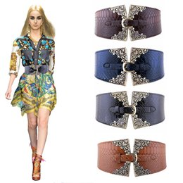 pattern decor NZ - 2018 new women's elastic wide belt retro metal buckle imitation leather blue wild elastic elastic pin buckle fashion crocodile pattern decor