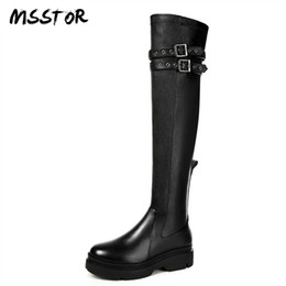 dee05a4b6889 MSSTOR Buckle Strap Black Knee High Boots Wedges Fashion Autumn Winter Shoes  Woman Platform Round Toe Long Boots Women 4.5CM
