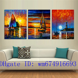 painting seascape boat Australia - Sea Boat-1 , 3 Pieces Home Decor HD Printed Modern Art Painting on Canvas (Unframed Framed)