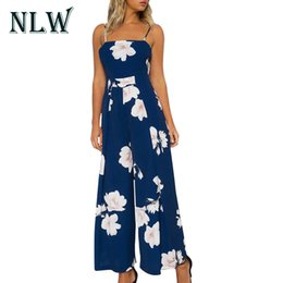 8d1f9b97fd1 NLW Sexy Off Shoulder Boho Floral Print Women Jumpsuit 2017 Beach Loose  Long Pant Playsuit Backless Bow Overalls Elegant Rompers