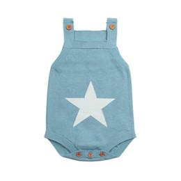 China Summer Sleeveless Bodysuits For Boys Onesie White Star Knit Newborn Baby Girls Coveralls Grey Toddler Sunsuit Children Body Suit cheap body baby bodysuits suppliers