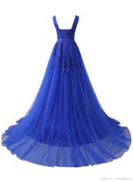 $enCountryForm.capitalKeyWord Australia - Real Royal Blue V-neck Evening Dresses Lace up Back Tulle Satin Sweep Train Formal Evening Gowns Vestido De Noche Prom Dresses