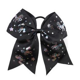 $enCountryForm.capitalKeyWord UK - 8 Inch Large Solid Headband Cheerleading Ribbon Bows Grosgrain Cheer Bows Tie With Elastic Band Girls Rubber Hair Band Beautiful