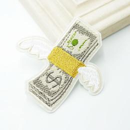 Vente en gros Flying Money Dollar américain Patch Patch en tissu Brodé Mignons Badges Hippie Coudre Fer Sur Patchs de Bande Dessinée Pour Vêtements
