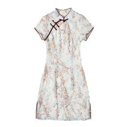 849b922a998d ZVAQS 2018 nuove donne cinesi tradizionali abito fiore cheongsam estate  femminile piccolo fresco stampato abbigliamento femminile