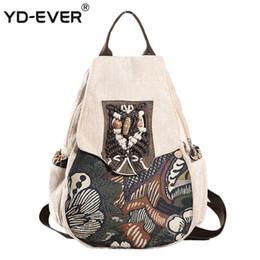 YD-MAI Alberi forestali casuali stampati Bookbag scuola femminile per ragazze stile nazionale perline borsa zaino anti-furto donne fatte a mano