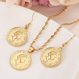 $enCountryForm.capitalKeyWord NZ - Real 9k Yellow Solid Gold GF jewelry coin head sculpture Pendant Necklace earrings Women butterfly Papua Guinea girls kids