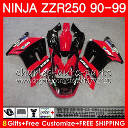 1993 kawasaki fairing online shopping - Bodywork For KAWASAKI NINJA ZZR ZZR250 factory HM red black top ZZR Fairing kit