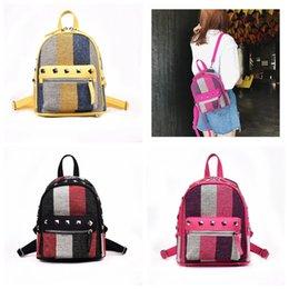 143447ce52a1 Backpacks Leisure Bag Girl NZ - Girls Diamond Rivet Stripe Backpack Canvas  Travel Leisure Backpacks Women