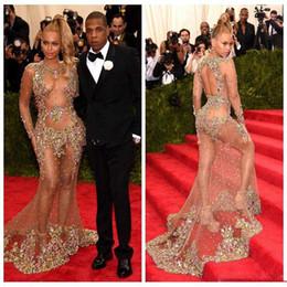 Sheer Body Sleeves Longs Mermaid Prom Dresses Sexy Colorido Crystal Beaded Prom Dress Vestidos de Tapete Vermelho Beyonce Jay Met Gala Party