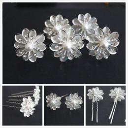 Новое прибытие 50 шт. свадебные Кристалл белый жемчуг цветок заколки для волос аксессуары для волос на Распродаже