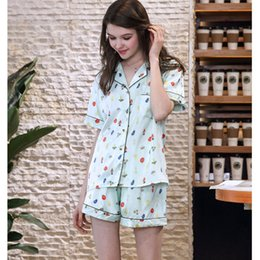 8a19036ca5 2018 Women Satin Silk Pajamas Set Print Casual Short Sleeve and Shorts  Female Home Clothing Soft Cozy Sleepwear Open Stitch