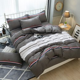 $enCountryForm.capitalKeyWord Australia - Gray white stripes bedding set Modern fashion trend duvet cover solid color bed sheet twin full queen king Good quality