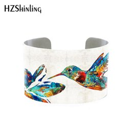 Hummingbird Gifts UK - 2018 Trendy Hummingbird Jewelry Cuff Bracelet Wide Metal Bangle With Humming Birds Silver Adjustable Cuffs Gifts for Her