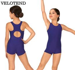 $enCountryForm.capitalKeyWord NZ - VELOTEND Girls Spandex Racerback Tank Shorty Unitard Dancewear for Toddler Child Lycra Keyhole Gymnastics Boy Shorts Unitard