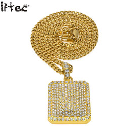 "Discount gold pendants dog - 24 ""Cuban Chain Mens Full Iced Out Cz Gold Silver Filled Square Dog Tag Pendant 5mm *30 ''  3mm *Hip Hop"