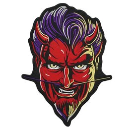 Bikers Back Patches Australia - RED DEVIL Embroidery Patch Rocker Biker Motorcycle Club Jacket Vest Morale MC Back of Jacket Iron on Clothing Vest Parch Free Shipping