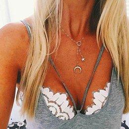 Necklaces Pendants Australia - Pentagram Pendants Necklaces Female 2018 Fashion Jewelry Circle Clavicle Chain Gold Color Ladies Party Necklace Cadenas Mujer