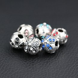 small leaf charms wholesale 2019 - Safety Beads Clips Locks Stopper Small Five-leaf Heart Flower Charms European DIY Beads Fit Pandora Charms Bracelets