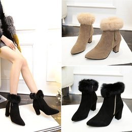 $enCountryForm.capitalKeyWord Canada - wholesale ! womens Autumn winter new European and American fashion short boots chunky heel pointed toes rough with Martin side zipper shoes