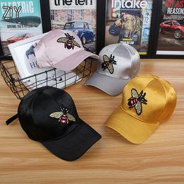 Bee Embroidery Baseball Cap Satin Ponytail Hip Hip Streetwear Summer  Breathable Snapback Bone Animals Casual Baseball Cap Gorro 5ef4a6343dd1