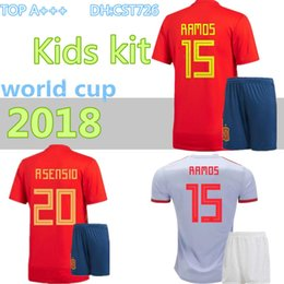 2018 world cup Spain Kids kit soccer jerseys football Kits kids uniform  with socks camisetas de futbol MORATA ASENSIO ISCO SILVA RAMOS 2cc3b7035