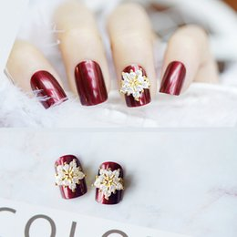 Christmas Gift Nails Australia - Christmas gift Pearly wine red pure color false nails with designs Cute fake nails with snowflake 3d decoration bride full nail