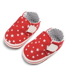 Baby Canvas Shoe Wholesale NZ - 2018 Autumn First Walkers Boy Girl Stars Pattern Anti-Slip Sneakers Shoes Baby Soft Bottom Walking Canvas Shoes