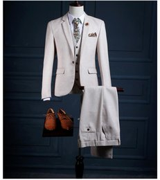 $enCountryForm.capitalKeyWord NZ - Ivory Tuxedo Groomsmen Suits Tree Pieces Wedding Gowns Notched Lapel Formal Wear Wedding Party For Mens Suit (Jacket+Vest+Pants) SG006