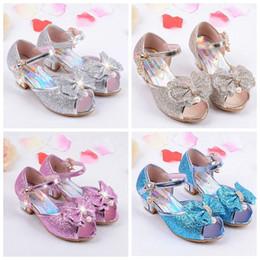 Children Princess Sandals Kids Girls Bowknot Shoes Glitter High Heels Shoes  Summer Party Shoes Bowtie Fish Mouth Kids Sandals YFA47 0fffcac64208