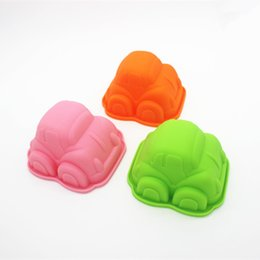 Cake Cars UK - 500pcs 9.5 cm child favor small car shape silicone cake mold mould muffin cases for baby shower lin3932