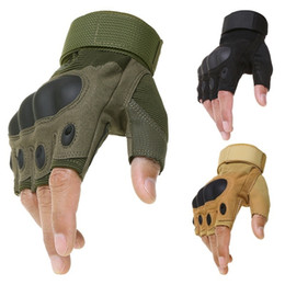 Gloves bicycle black online shopping - Sport Tactical Army Airsoft Shooting Bicycle Combat Fingerless Paintball Hard Carbon Knuckle Half Finger Cycling Gloves