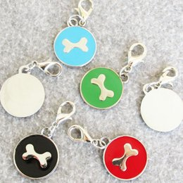zinc alloy tags NZ - 100pcs lot Zinc Alloy Circle Shaped Pet Dog Cat ID Tags Bone Dog Tags Mixed Colors Available
