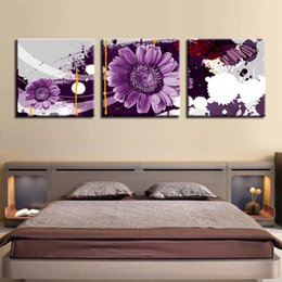 art canvas prints Australia - Canvas Paintings For Living Room HD Prints Helianthus Annuus Pictures 3 Pieces Purple Daisy Flowers Poster Wall Art Home Decor