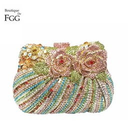 Boutique De FGG Multi Flower Rose Women Mini Crystal Evening Minaudiere Bag  Metal Hardcase Wedding Party Handbag Purse f61c8f7cb227