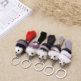 $enCountryForm.capitalKeyWord Australia - Adorable fur mink bag pendant accessories car real fur fox key chain