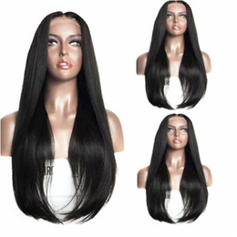 Straight Black Wig Middle Part NZ - Natural Long Silky Straight Black Wigs with Baby Hair Middle Part Glueless Synthetic Lace Front Wigs for Women Heat Resistant 180% Density